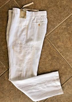 Caribbean 100% Linen Cargo Pants Mens 36 x 32 White w/ Elast