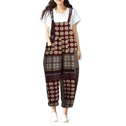 2018 Women's Cotton Cargo Pants Bib Overalls Dungaree Wide L