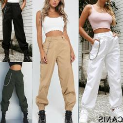 2019 Womens Cargo Pants High Waist Jogger Casual Trousers Po