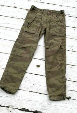 Abercrombie & Fitch Mens Boys Camo Cargo Military Pants Para