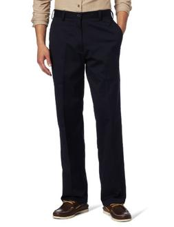 IZOD Men's American Chino Flat Front Pant, Navy, 29W x 32L