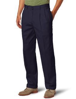 IZOD Men's American Chino Pleated Pant, Navy, 40W x 29L