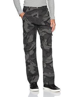 Wrangler Men's Authentics Cargo Pant, Anthracite Camo, 34x34