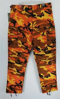 Rothco BDU Savage Orange Camouflage Cargo Pants Men's Size L