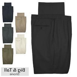Haggar Big & Tall Men's Pleated Casual Pants Expandable Wais