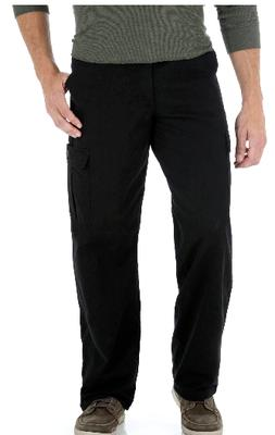 Men's Wrangler Legacy Cargo Pants Black Relaxed Fit Tech Poc