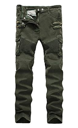 LAMCORD Men's Moto Biker Jeans Skinny Slim Fit Stretch Pants