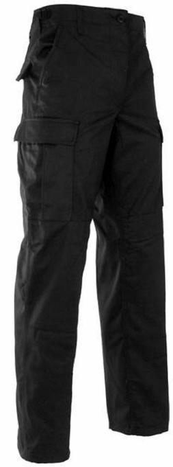BLACK ROTHCO 5923 BDU PANTS 100%COTTON RIP-STOP UNIFORM CARG