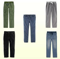 Boys Jeans Twill Pants Pull On Cargo Separates Blue Gray Kha