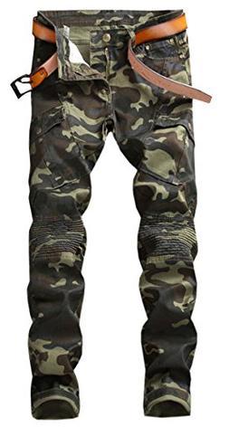QZH.DUAO Men's Camo Cargo Moto Biker Denim Jeans Pants with