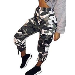 Women Camo Trouser Jogger Pants Plus Size Casual Cargo Hip H