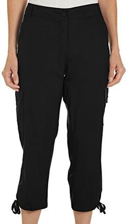 Caribbean Joe Women's Cargo Capri Pant with Tie Leg, Black,