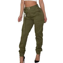 Womens Cargo Casual Pants Military Army Combat Solid Pants P