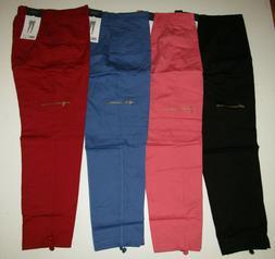 RAFAELLA Cargo Comfort Pants Pull On Pink Red Blue Black 6