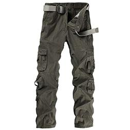 Men Cargo Pants Long Multi-Pocket Mid Waist Casual Pocket Be