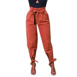 Minisoya Women Cargo Pant Slacks Belted High Waist Bowknot B