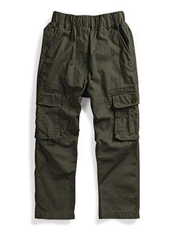 Mesinsefra Boy Cargo Pants Casual Trousers Solid Color Slack