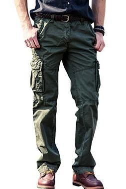 FlyHawk Men's Comfortable Cargo Pants Work Trousers Combat P