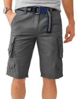 Cargo Short Pants Belted Slate Gray Ripstop 100% Cotton Laze