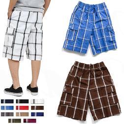 Plaid Cargo Shorts Pants Men Checker Multi Pockets Summer Ca