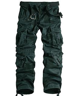 Jessie Kidden Men's Casual Military Cargo Pants, 8 Pockets C