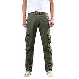 Men Pants Casual Slim Fit,Mens Army Trousers Multi-Pocket Co