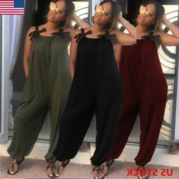 Casual Women Bib Cargo Pants Hip Hop Harem Pants Jumpsuit Ro