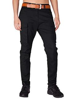 ITALY MORN Men's Chino Cargo Casual Pants S Black
