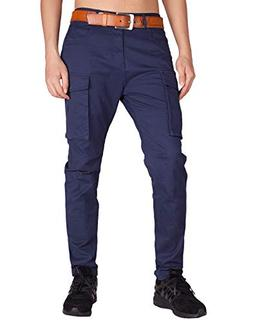 ITALY MORN Men's Chino Cargo Flat Front Casual Pants S Navy