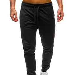 WUAI Deals,Mens Casual Pants Regular Fit Sports Running Pock