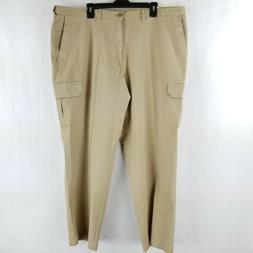 Haggar Clothing Mens Cargo Pants Khaki Classic Fit Stretch C