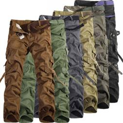 Combat Mens Cotton ARMY Cargo Pants Military Camouflage Work