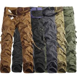 Mens Camo Cargo Combat Work Pants Military Army Tactical Loo
