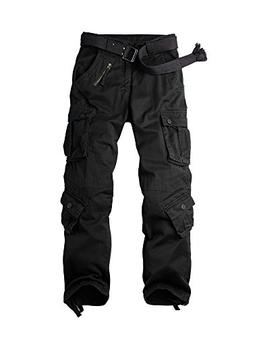 OCHENTA Men's Cotton Military Cargo Pants, 8 Pockets Casual
