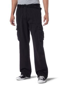 Unionbay Men's Cotton Twill Survivor Cargo Pant, Black Belt,