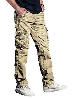 OCHENTA Men's Cotton Washed Multi Pockets Military Cargo Pan