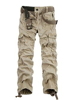 OCHENTA Men's Cotton Washed Multi Pockets Military Cargo Pan