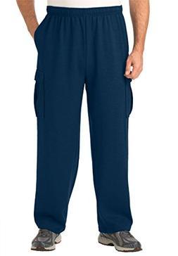 Kingsize Men's Big & Tall Easy-Care Fleece Cargo Pants, Navy