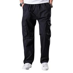 Mesinsefra Men's Elastic Waist Lightweight Workwear Cargo Pa