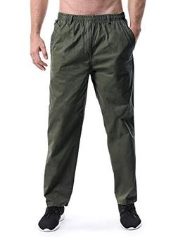 Men's Elastic Waist Loose Fit Workwear Pull On Cargo Pants A