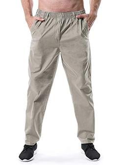 Men's Elastic Waist Loose Fit Workwear Pull On Cargo Pants K