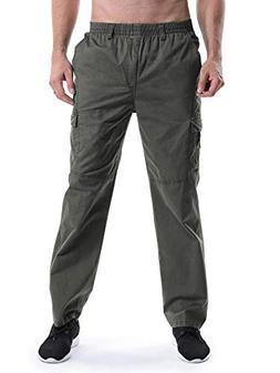 Men's Elastic Waist Relaxed Straight Leg Baggy Pull On Cargo