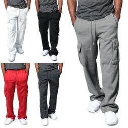 Fashion Men's Jogger Heavy Weight Fleece Cargo Pocket Sweat