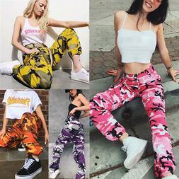 Fashion Women Sports Camo Cargo Pants Outdoor Casual Camoufl