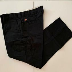 Dickies FLEX Mens Slim Fit Straight Leg Cargo Black Pants WP