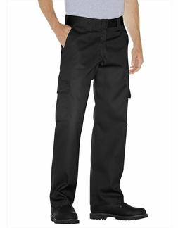Genuine Dickies Men's Relaxed Fit Flat Front Black Cargo Pan