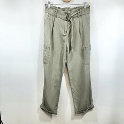 ILLA ILLA Green Paper Bag High Waist Tencel Cargo Pants Wome