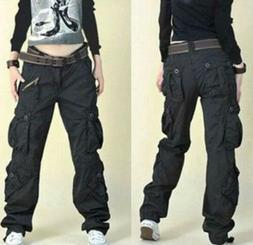 Fashion Womens Military Army loose Cargo Pocket Pants Leisur