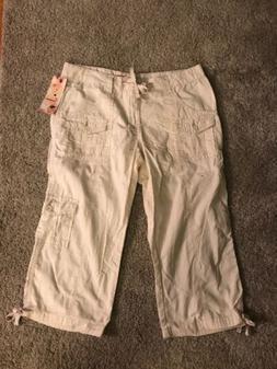 Union Bay Juniors size 7 Khaki Cargo Cropped Capri  Pants. N