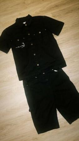 Karl Kani Denim Set , Shirt is size medium and Shorts are si